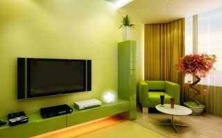 Зеленые шторы в интерьере гостиной – универсальное оформление