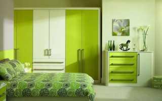 Дизайн спальни в салатовом цвете