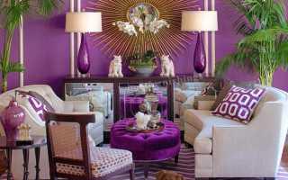 Фиолетовый цвет в интерьере гостиной, кухни, спальни