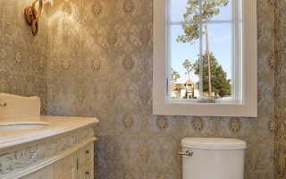 Дизайн туалета, оклеянного обоями