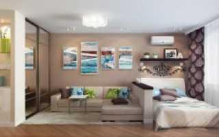 Интерьер зала в квартире 20 кв м: совмещение со спальней и кухней