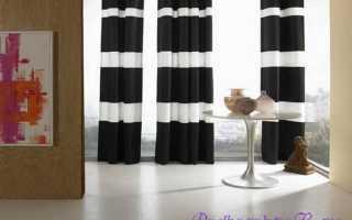 Черно-белые шторы в декоре гостиной, спальни и кухни
